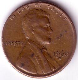 USD 1960 1 Cent D