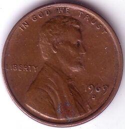 USD 1969 1 Cent D