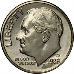 USD 1988 10 Cent D