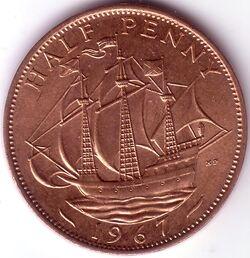 GBP 1967 0.5 Penny