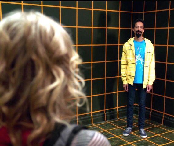 File:Britta meets Evil Abed wearing a felt goatee.jpg