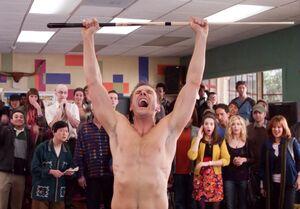 Naked Jeff celebrates