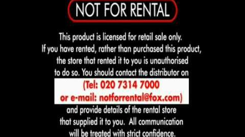 """Not For Rental"" Warning - 20th Century Fox (Inc"