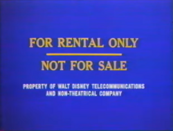Walt Disney Home Entertainment For Rental Only screen