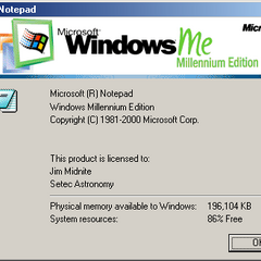 The about dialog box for Notepad of Windows ME