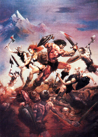 File:-1 octubre 1974 . Conan y Red Sonja en La maldición de los muertos vivientes Guión de Roy Thomas, lápices de John Buscema..jpg