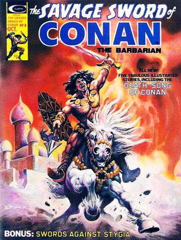File:-8 octubre 1975 La redoma eterna. Guión de Roy Thomas, el arte de Tim Conrad. La muerte-canción de Conan el cimmerio. Poema de Lin Carter (adaptada por Thomas).jpg