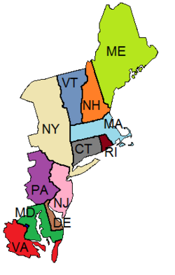 Provincial map of the New England Republic