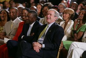 President Alexander Kane with U.S. President George Bush
