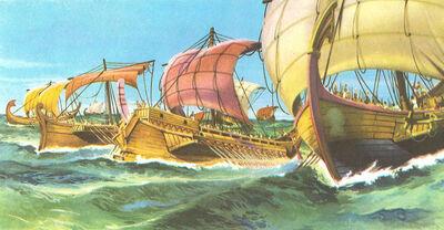 Greek navy sailing to Troy