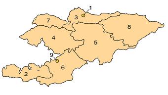 Kyrgyzstan provinces map