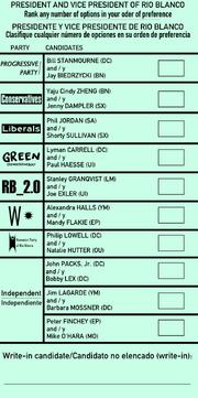 Rio Blanco presidential ballot 2016