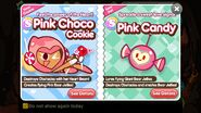 Pink choco cookie and pink candy