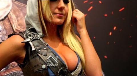 Jessica Nigri Bouncing and Partying at Gamesom 2013 in Assassin's Creed Edward Kenway Cosplay Outfit