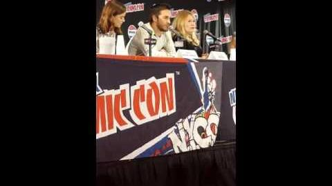 Chris Wood & Containment cast during the panel of Containment at NYCC