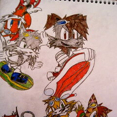 Cooper with the others based off the Sonic Riders Zero Gravity cover art.