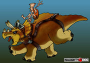 Lab Assistant riding a triceratops