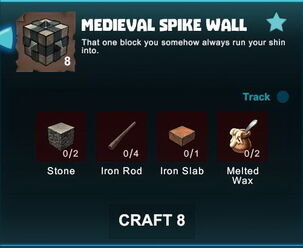 Creativerse R41 crafting recipes colossal castle medieval spike wall01