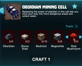 Creativerse R41 crafting recipes obsidian mining cell01