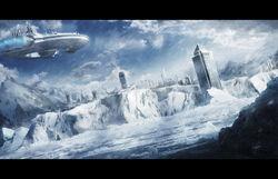 Futuristic snowy city