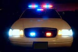 Police cruiser headlights
