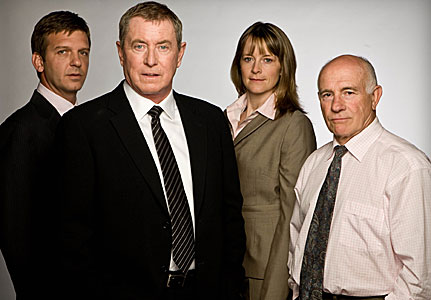 File:Midsomer Murders cast from left to right - Jason Hughes as DS Ben Jones, John Nettles as DCI Tom Barnaby, Kirsty Dillon as DC Gail Stephens and Barry Jackson as Dr George Bullard.jpg