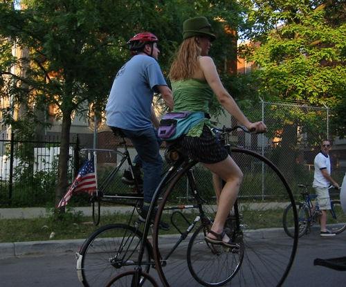 File:Old tall bike meets new tall bike.jpg
