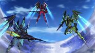 Cross Ange ep 11 The Three Ryuu-Shin-Ki in Destroyer Mode