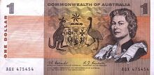 Australia dollar note 1968 obv