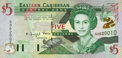 5 EC dollar banknote obverse