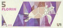 Aruba 5 florin note 1990 obv