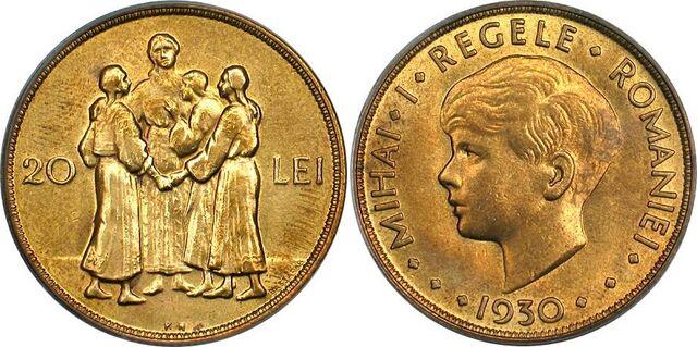 File:Romanian 20 lei 1930 Mihai.jpg
