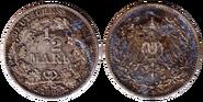 Halbe Reichsmark 1908 VSRS
