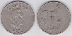 Zambia 20 ngwee 1972