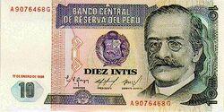 10 Peruvian inti banknote obverse