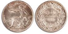 Schweiz Zwei Franken 1850