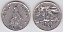 Zimbabwe 20 cents 1997