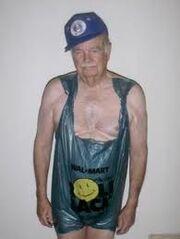 Old man trash bag