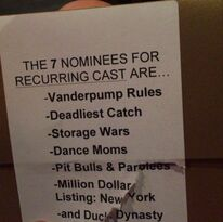 Reality TV Awards - Best Recurring Cast Nominees - Kendall kept card- 13May2015