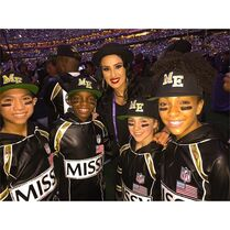 (backrow) Tricia Miranda - (frontrow) Gabe De Guzman - Will Simmons - Kaycee Rice - Charlize Glass - 1Feb2015 Super Bowl XLIX