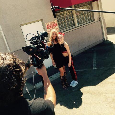 File:702 Chloe and Liz Folce on set.jpg