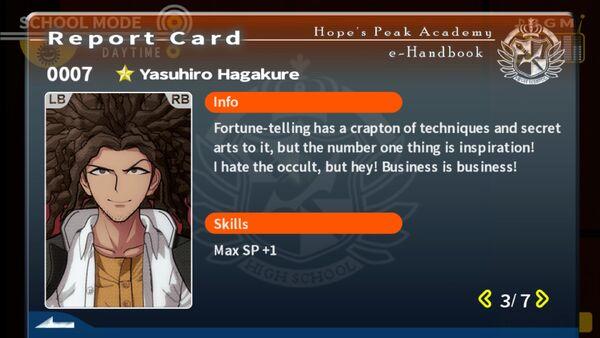 Yasuhiro Hagakure Report Card Page 3