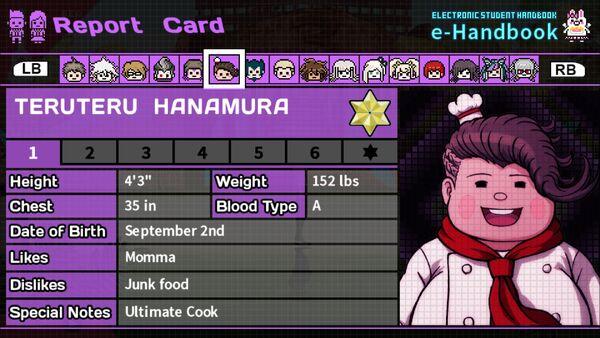 Teruteru Hanamura Report Card Page 1
