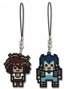 FuRyu Minna no Kuji Dot Rubber Mascots Akane Owari and Nekomaru Nidai OOB