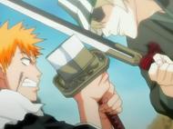 Ichigo and Urahara clash Blades