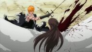 Ichigo slashes Aizen