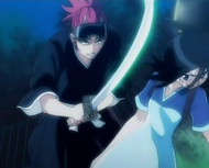 Renji attacks Rukia