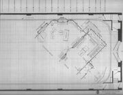 Sy Tomashoff blueprint for Collinwood foyer and drawing room (showing position and angle in relation to television studio) TV-16