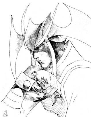 File:Darkstalkers 3 Jedah Opening Sketch.png