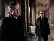 Bruce Wayne and Alfred Pennyworth in Wayne Manor